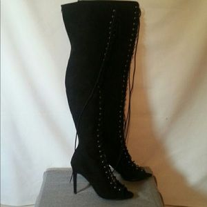 Forever 21 knee high lace up boots